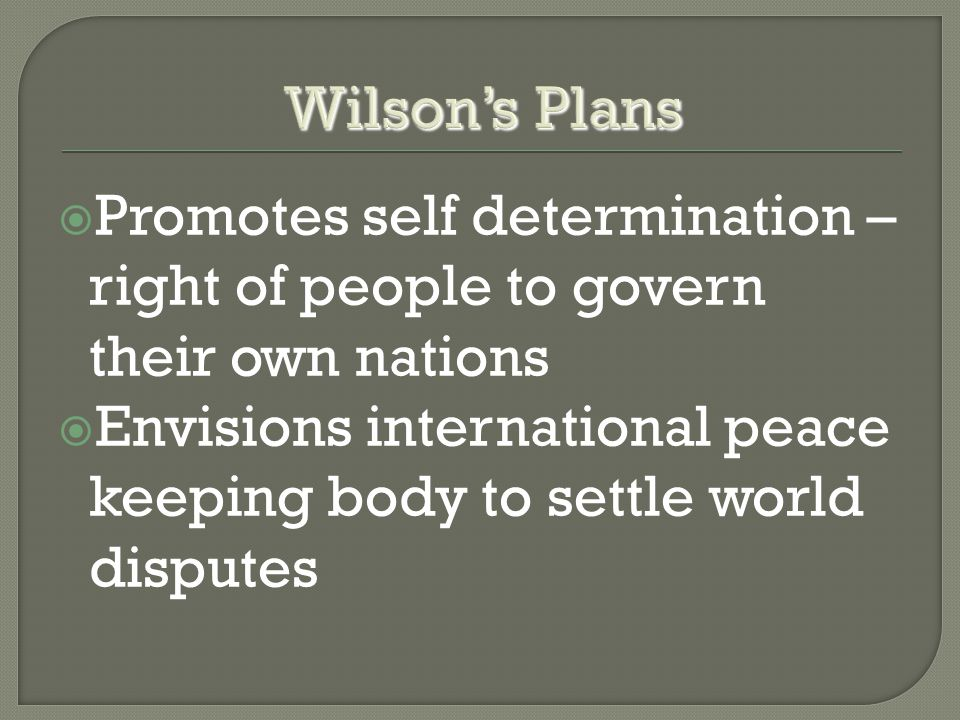  Promotes self determination – right of people to govern their own nations  Envisions international peace keeping body to settle world disputes