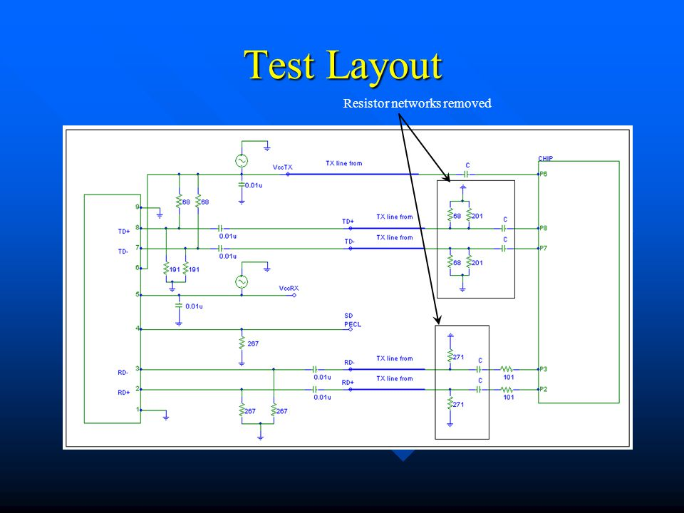 Test Layout Resistor networks removed