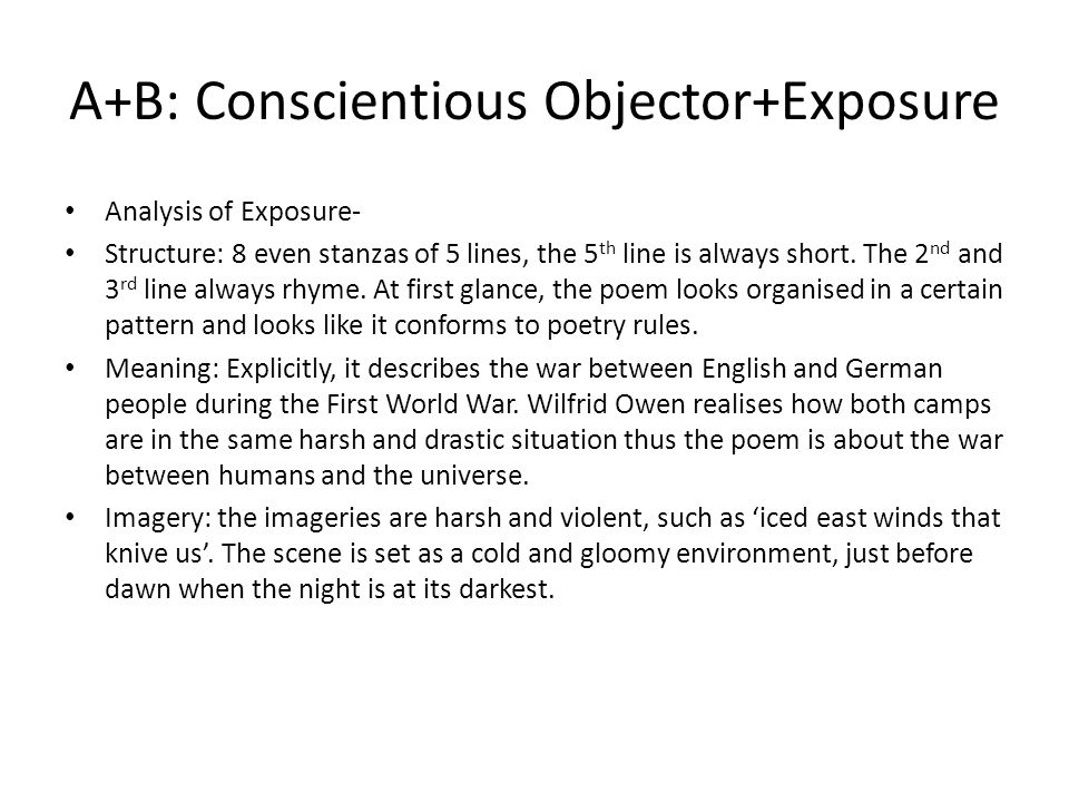 analysis on exposure poem Exposure - synopsis and commentary synopsis of exposure during a winter night-time on the western front, owen and his men are awake, anxious about a potential enemy attack and of succumbing to the icy grip of the elementsthe war seems distant but they suffer from the bitter wind and snow.
