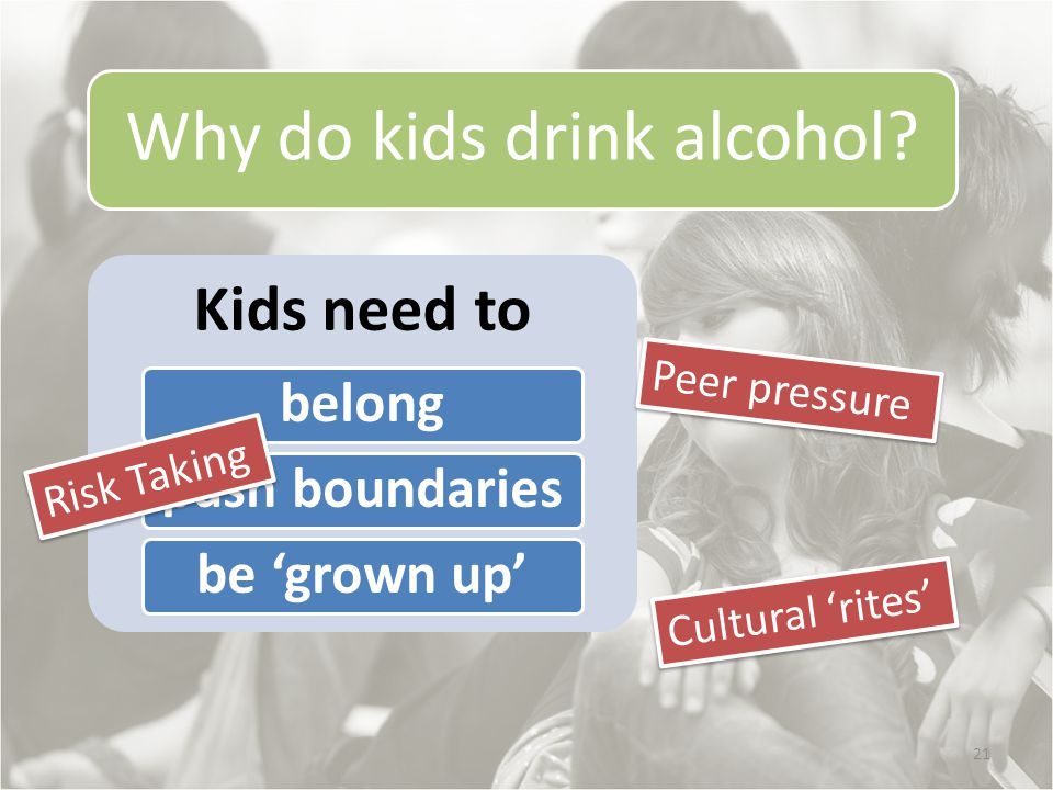 21 Why do kids drink alcohol.