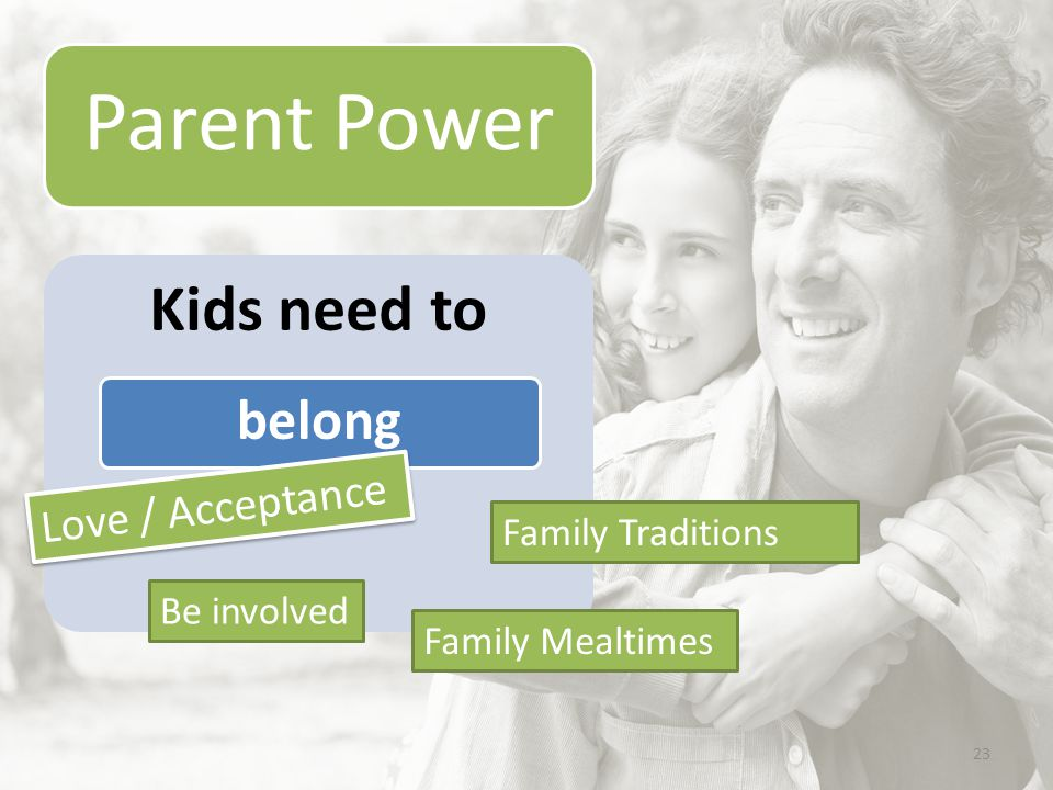 23 Parent Power Kids need to belong Love / Acceptance Family Mealtimes Be involved Family Traditions