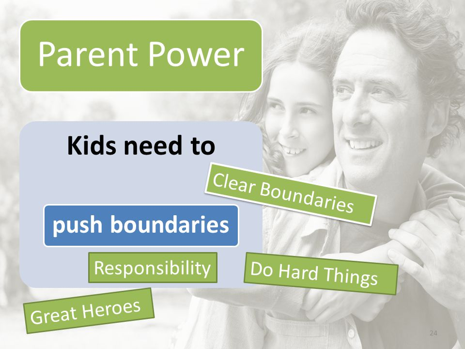 24 Kids need to push boundaries Clear Boundaries Great Heroes Responsibility Do Hard Things Parent Power