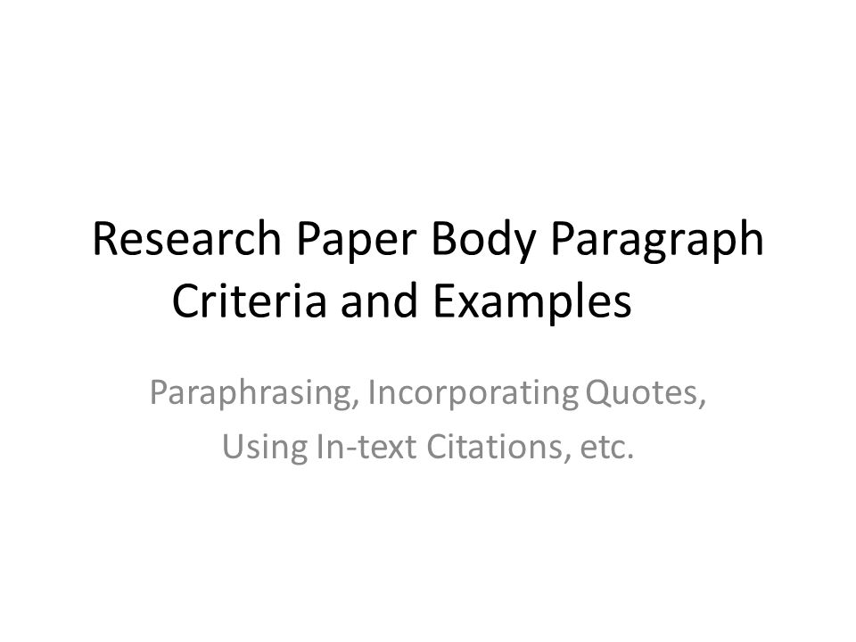incorporating quotations into a research paper The three quotation formats include direct quotation, block quotation, and summary/paraphrase it is important to understand that block quotes should not be used to pad papers for length summary and paraphrase are very similar methods that can be used to incorporate an author's ideas into your.