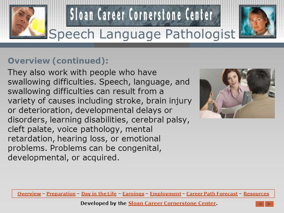 Overview (continued): Speech Language Pathologists also work with those who wish to improve their communication skills by modifying an accent; and those with cognitive communication impairments, such as attention, memory, and problem solving disorders.