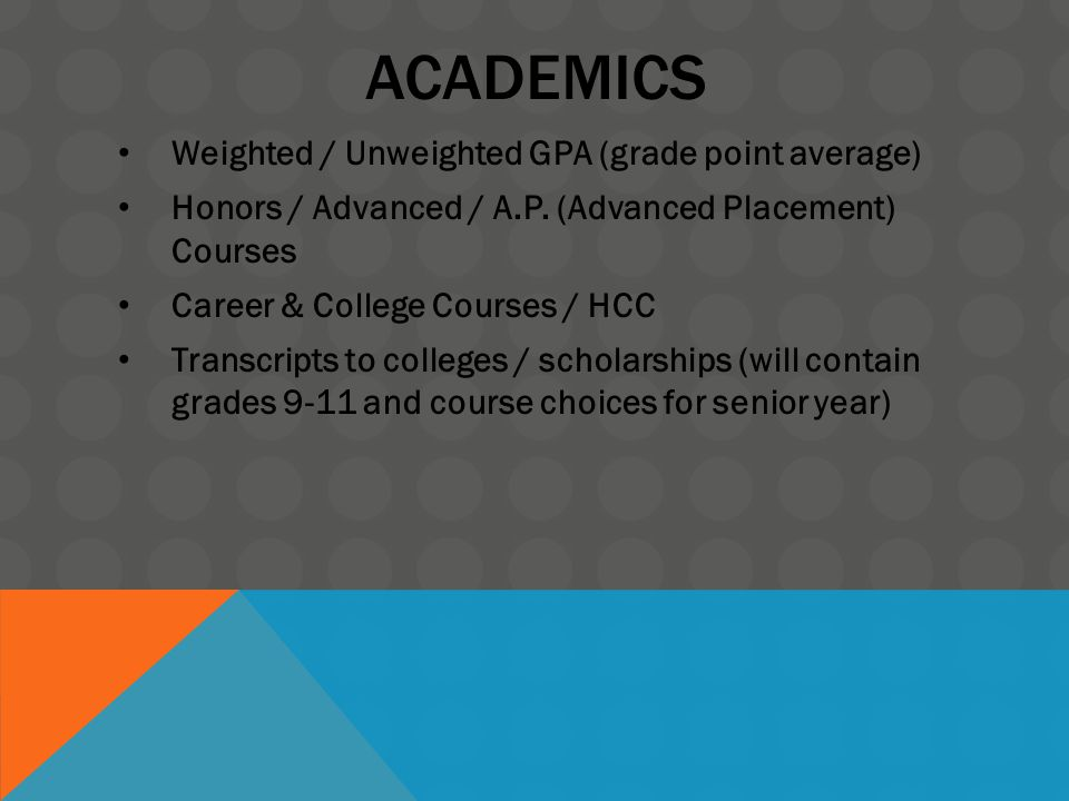 ACADEMICS Weighted / Unweighted GPA (grade point average) Honors / Advanced / A.P.