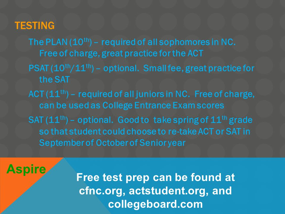 TESTING The PLAN (10 th ) – required of all sophomores in NC.