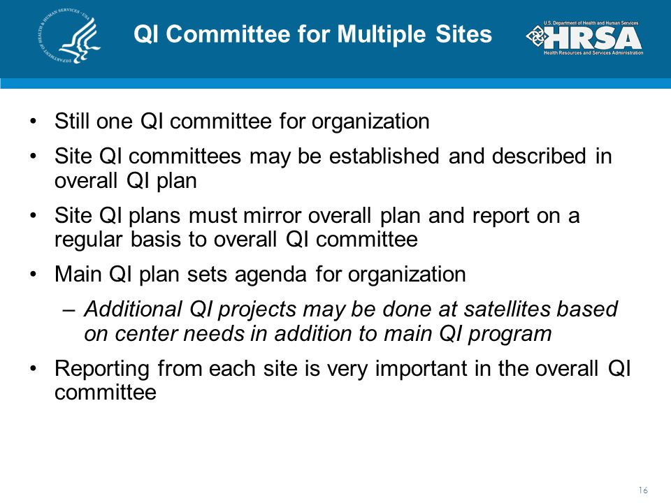 QI Committee for Multiple Sites Still one QI committee for organization Site QI committees may be established and described in overall QI plan Site QI plans must mirror overall plan and report on a regular basis to overall QI committee Main QI plan sets agenda for organization –Additional QI projects may be done at satellites based on center needs in addition to main QI program Reporting from each site is very important in the overall QI committee 16