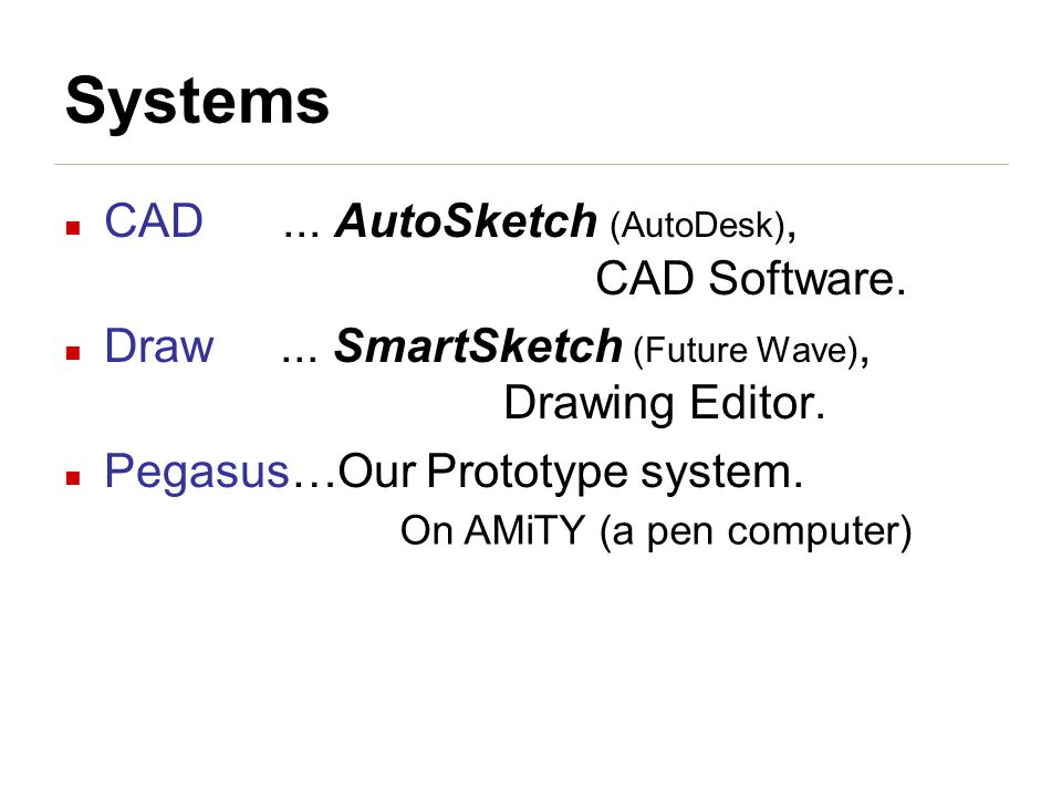 Systems CAD... AutoSketch (AutoDesk), CAD Software.