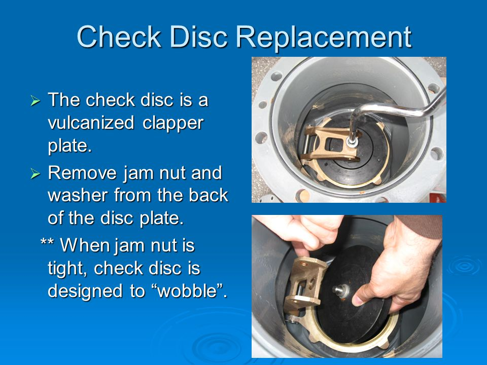 Check Disc Replacement  The check disc is a vulcanized clapper plate.