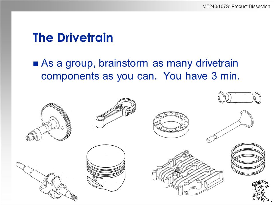 ME240/107S: Product Dissection The Drivetrain n As a group, brainstorm as many drivetrain components as you can.