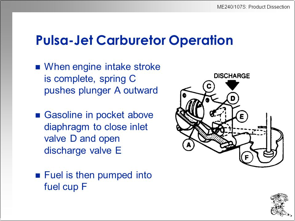 ME240/107S: Product Dissection Pulsa-Jet Carburetor Operation n When engine intake stroke is complete, spring C pushes plunger A outward n Gasoline in pocket above diaphragm to close inlet valve D and open discharge valve E n Fuel is then pumped into fuel cup F