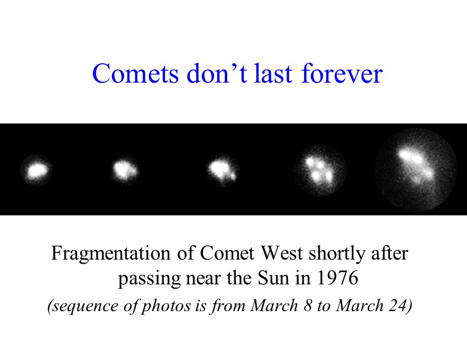 Comets don't last forever Fragmentation of Comet West shortly after passing near the Sun in 1976 (sequence of photos is from March 8 to March 24)