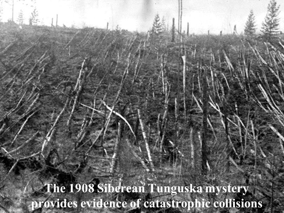 The 1908 Siberean Tunguska mystery provides evidence of catastrophic collisions
