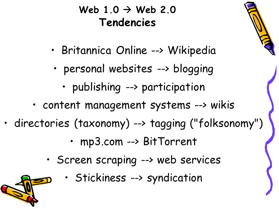 Web 1.0  Web 2.0 Tendencies Britannica Online --> Wikipedia personal websites --> blogging publishing --> participation content management systems --> wikis directories (taxonomy) --> tagging ( folksonomy ) mp3.com --> BitTorrent Screen scraping --> web services Stickiness --> syndication