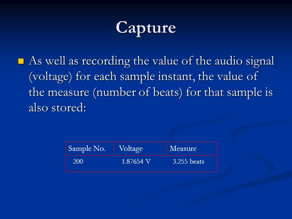 Capture As well as recording the value of the audio signal (voltage) for each sample instant, the value of the measure (number of beats) for that sample is also stored: As well as recording the value of the audio signal (voltage) for each sample instant, the value of the measure (number of beats) for that sample is also stored: VoltageSample No.Measure V beats