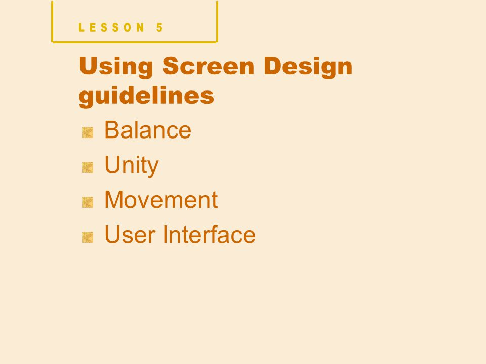 Using Screen Design guidelines Balance Unity Movement User Interface
