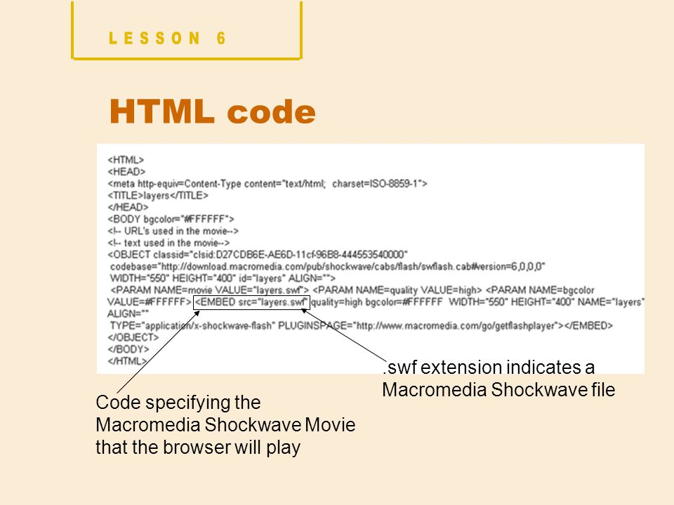 HTML code Code specifying the Macromedia Shockwave Movie that the browser will play.swf extension indicates a Macromedia Shockwave file