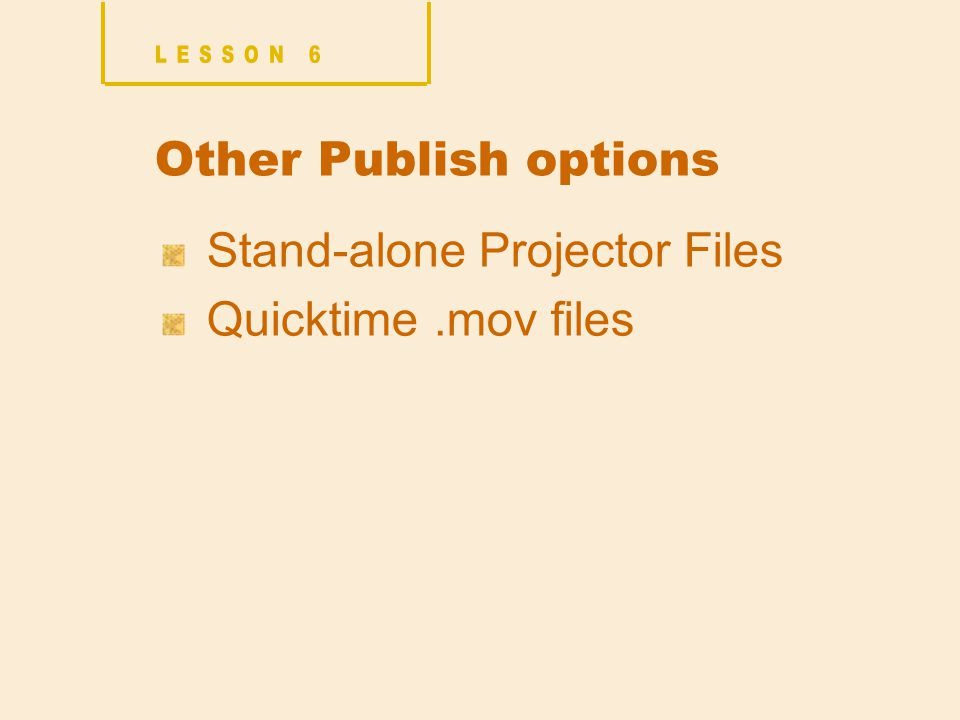 Other Publish options Stand-alone Projector Files Quicktime.mov files