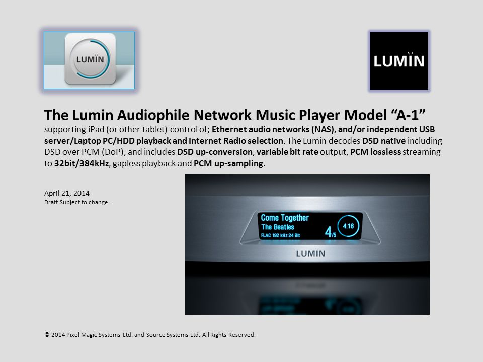 """The Lumin Audiophile Network Music Player Model """"A-1"""
