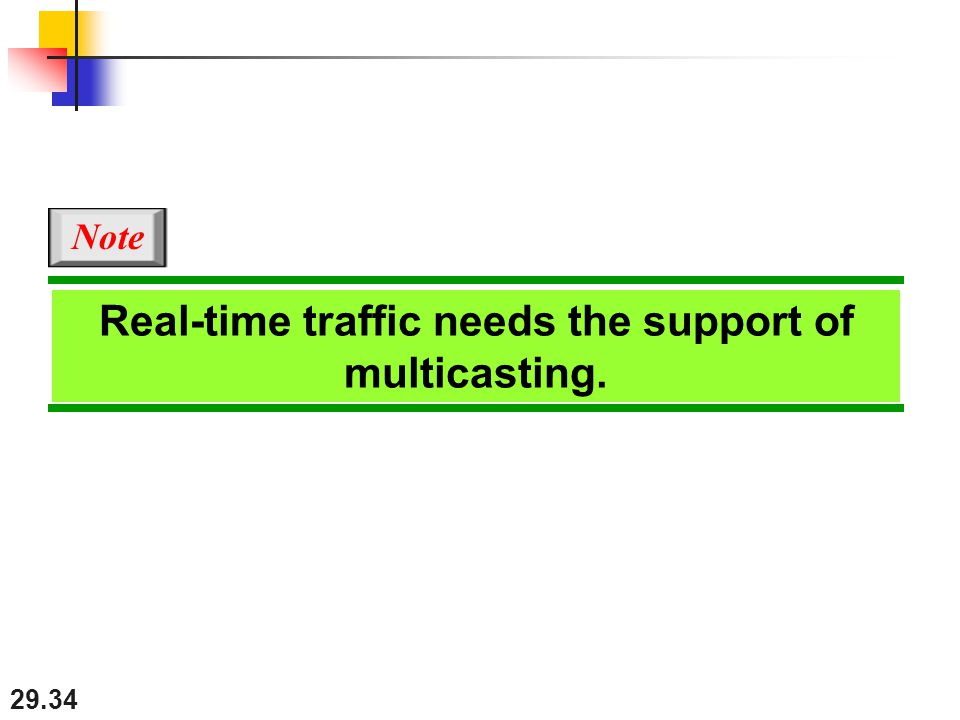 29.34 Real-time traffic needs the support of multicasting. Note