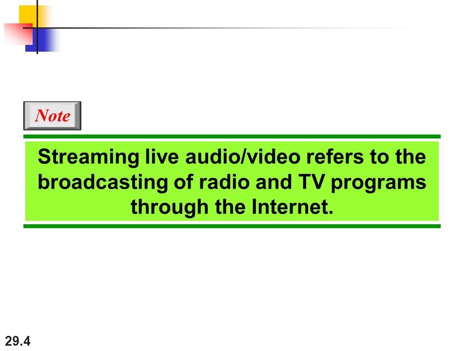 29.4 Streaming live audio/video refers to the broadcasting of radio and TV programs through the Internet.