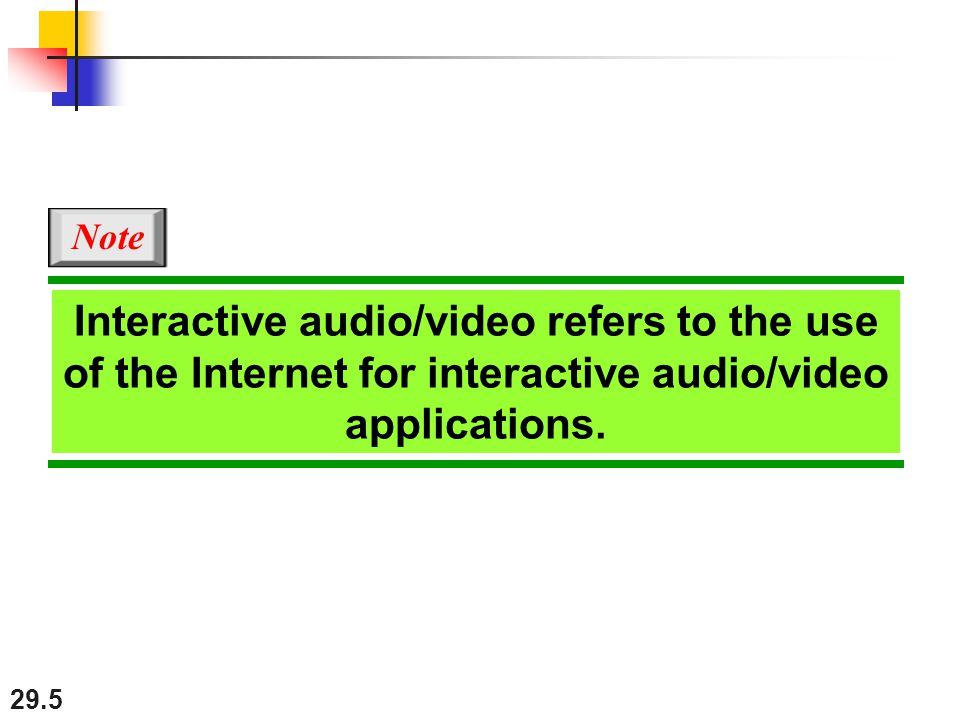 29.5 Interactive audio/video refers to the use of the Internet for interactive audio/video applications.