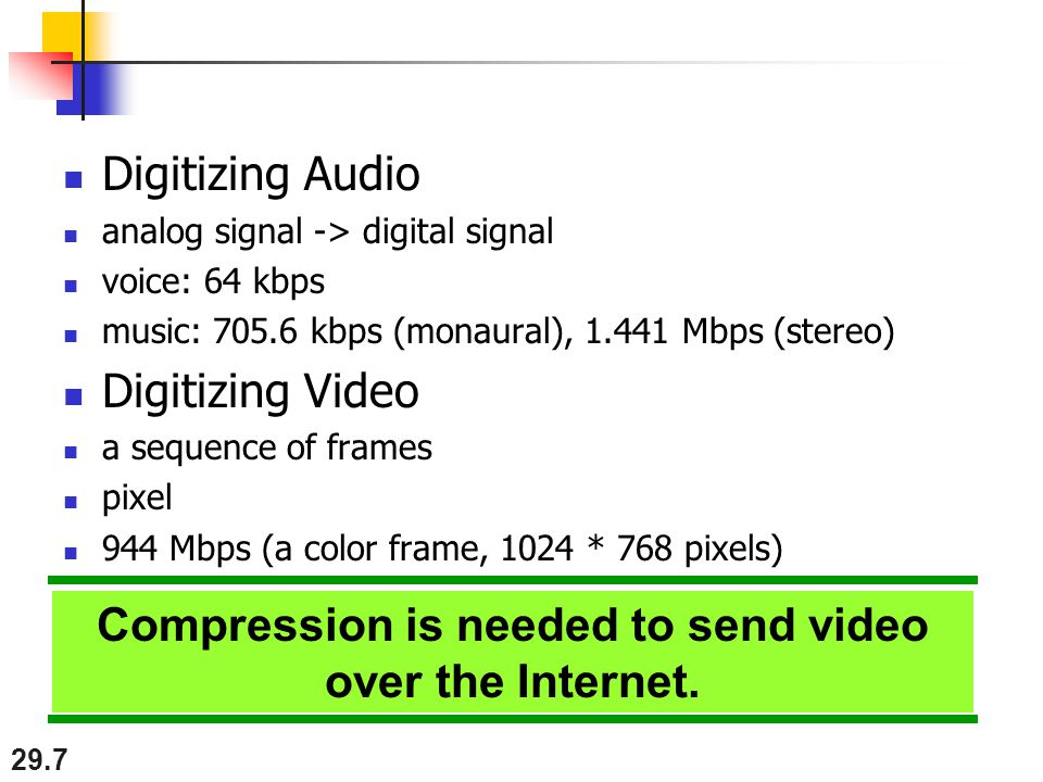 29.7 Digitizing Audio analog signal -> digital signal voice: 64 kbps music: kbps (monaural), Mbps (stereo) Digitizing Video a sequence of frames pixel 944 Mbps (a color frame, 1024 * 768 pixels) Compression is needed to send video over the Internet.