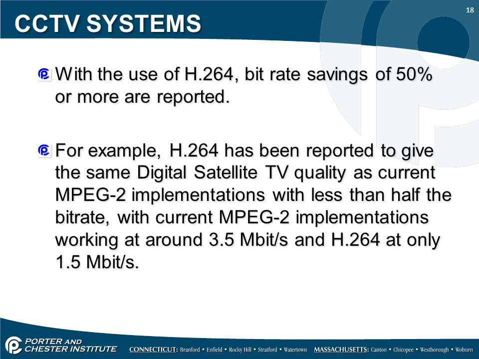 18 CCTV SYSTEMS With the use of H.264, bit rate savings of 50% or more are reported.