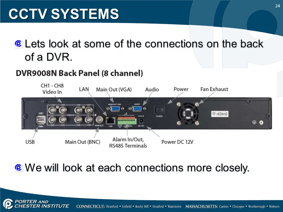 24 CCTV SYSTEMS Lets look at some of the connections on the back of a DVR.