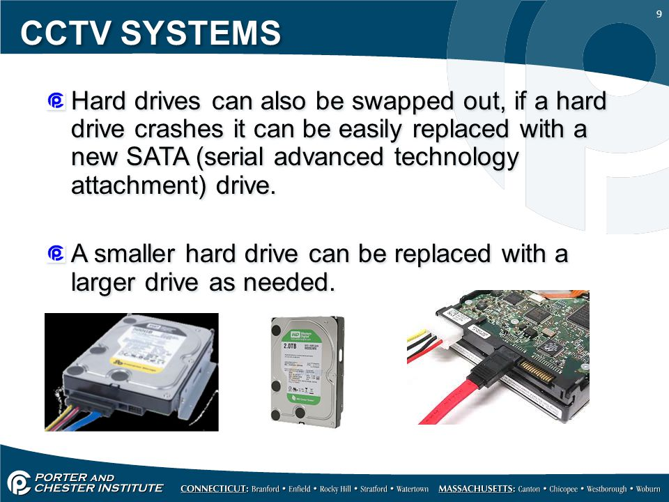 9 CCTV SYSTEMS Hard drives can also be swapped out, if a hard drive crashes it can be easily replaced with a new SATA (serial advanced technology attachment) drive.