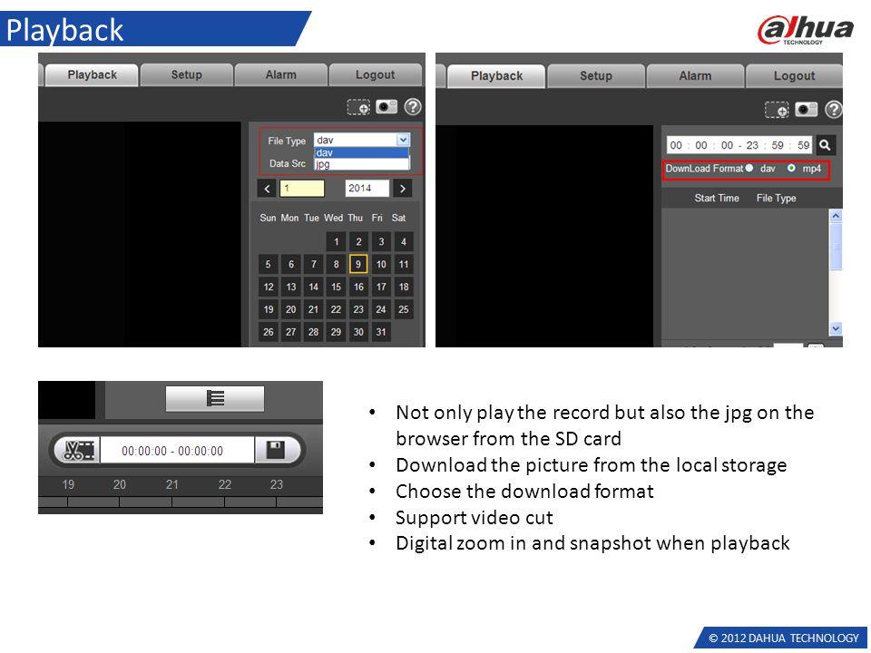 2012 DAHUA TECHNOLOGY Network Camera Latest Firmware feature