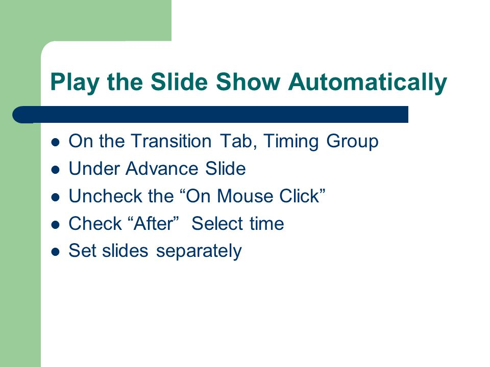 Transitions Timing On the Transitions Tab, Timing Group Duration: This allows you to set the speed of the transition.