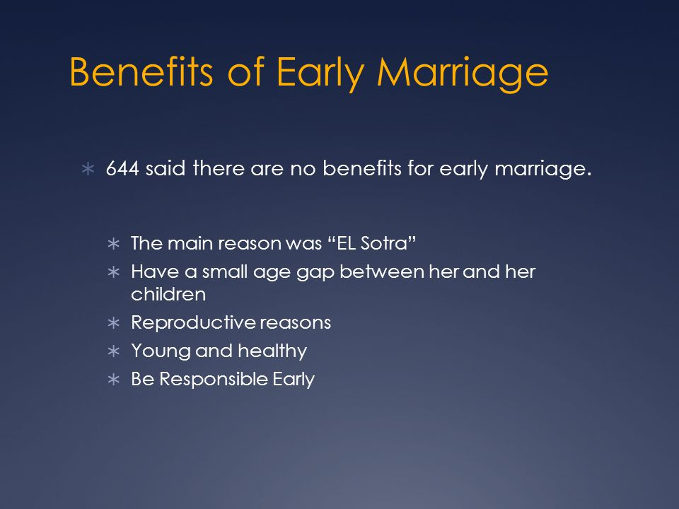Benefits of Early Marriage  644 said there are no benefits for early marriage.