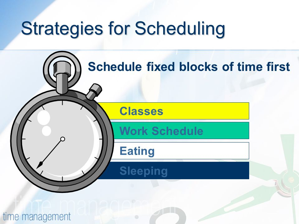 Classes Sleeping Eating Work Schedule Strategies for Scheduling Schedule fixed blocks of time first