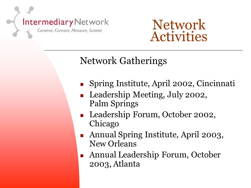 Network Activities Network Gatherings Spring Institute, April 2002, Cincinnati Leadership Meeting, July 2002, Palm Springs Leadership Forum, October 2002, Chicago Annual Spring Institute, April 2003, New Orleans Annual Leadership Forum, October 2003, Atlanta