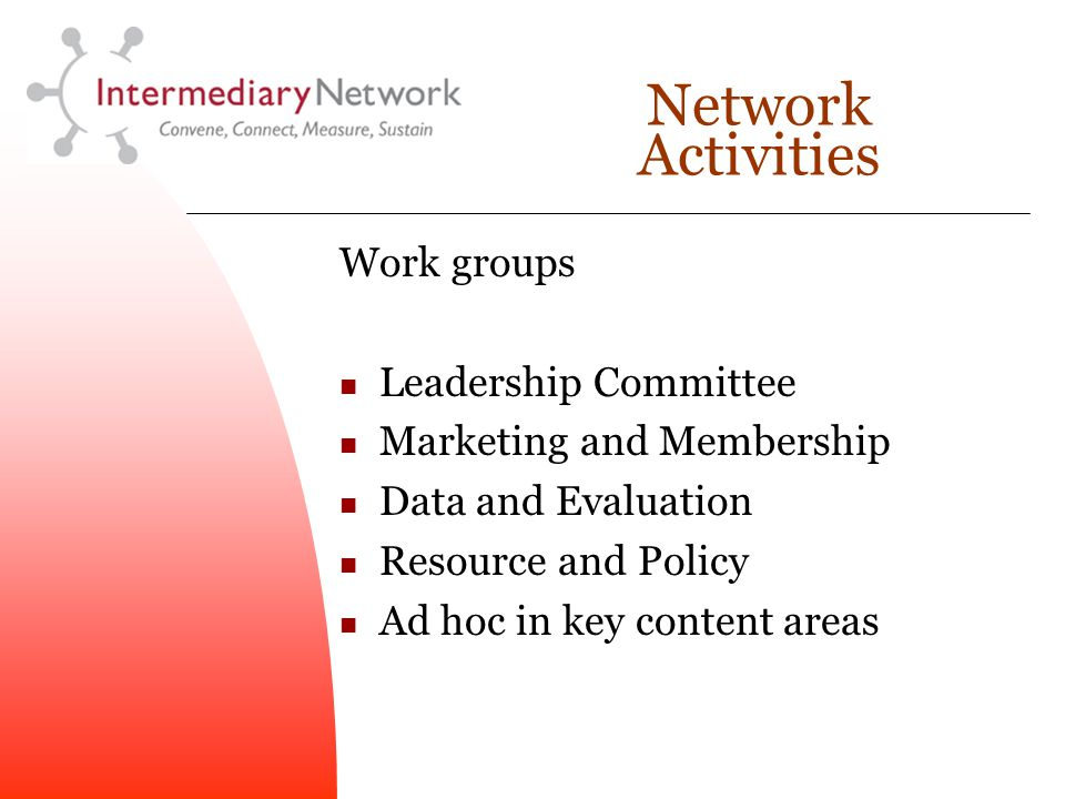 Network Activities Work groups Leadership Committee Marketing and Membership Data and Evaluation Resource and Policy Ad hoc in key content areas