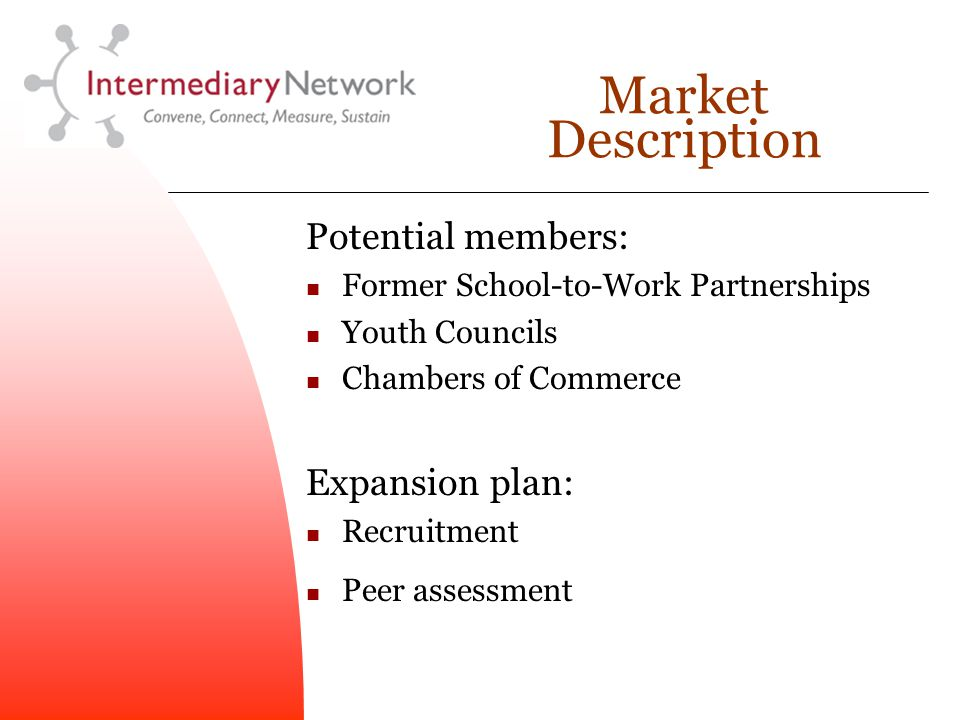 Market Description Potential members: Former School-to-Work Partnerships Youth Councils Chambers of Commerce Expansion plan: Recruitment Peer assessment
