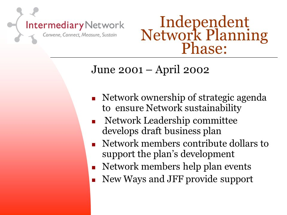 Independent Network Planning Phase: June 2001 – April 2002 Network ownership of strategic agenda to ensure Network sustainability Network Leadership committee develops draft business plan Network members contribute dollars to support the plan's development Network members help plan events New Ways and JFF provide support