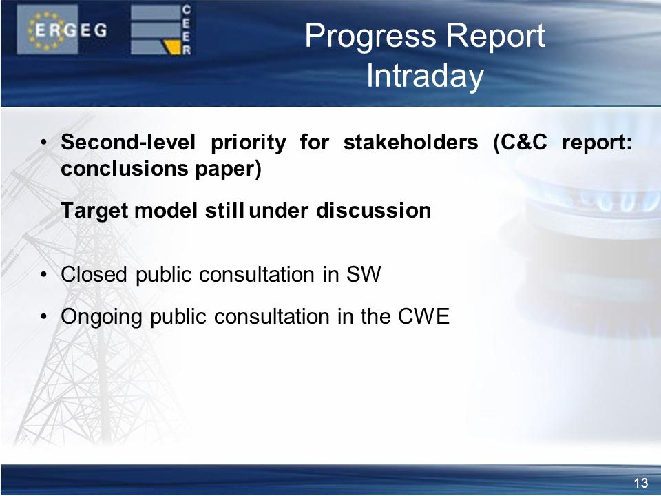 13 Progress Report Intraday Second-level priority for stakeholders (C&C report: conclusions paper) Target model still under discussion Closed public consultation in SW Ongoing public consultation in the CWE