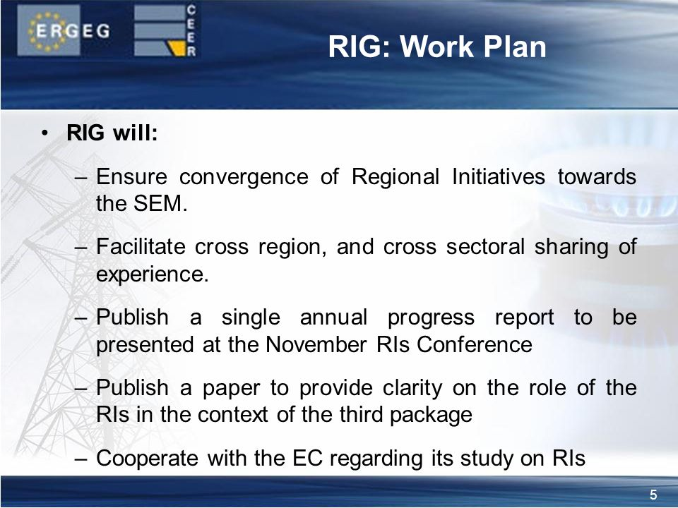 5 RIG: Work Plan RIG will: –Ensure convergence of Regional Initiatives towards the SEM.