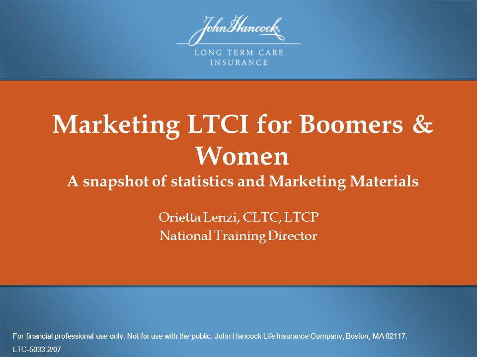 Marketing Ltci For Boomers Women A Snapshot Of Statistics And