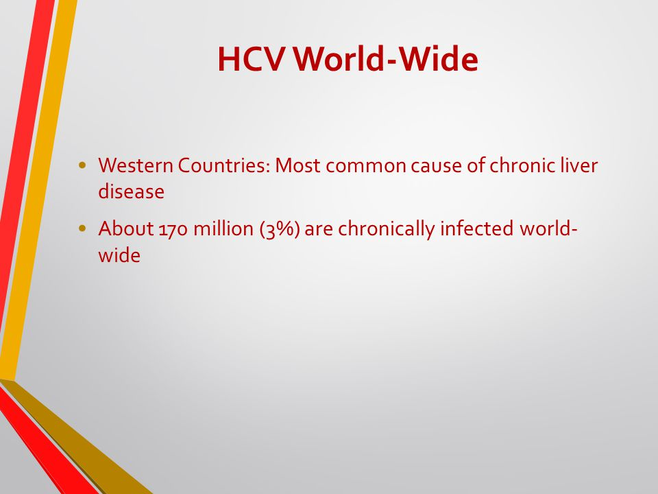 HCV World-Wide Western Countries: Most common cause of chronic liver disease About 170 million (3%) are chronically infected world- wide