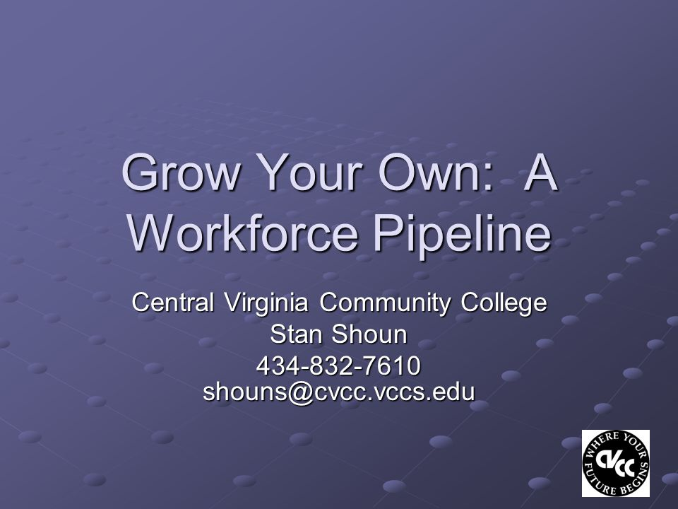 Grow Your Own: A Workforce Pipeline Central Virginia Community College Stan Shoun