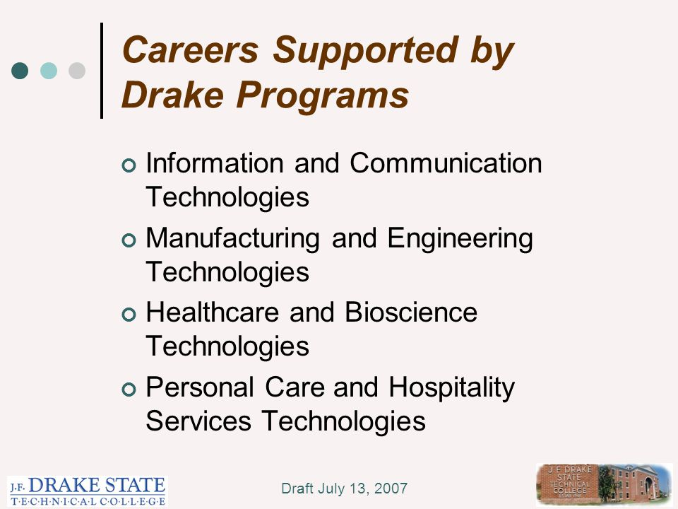 Draft July 13, 2007 Careers Supported by Drake Programs Information and Communication Technologies Manufacturing and Engineering Technologies Healthcare and Bioscience Technologies Personal Care and Hospitality Services Technologies