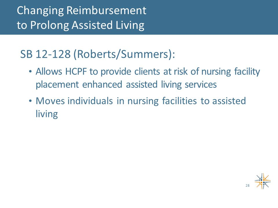 SB (Roberts/Summers): Allows HCPF to provide clients at risk of nursing facility placement enhanced assisted living services Moves individuals in nursing facilities to assisted living 28 Changing Reimbursement to Prolong Assisted Living