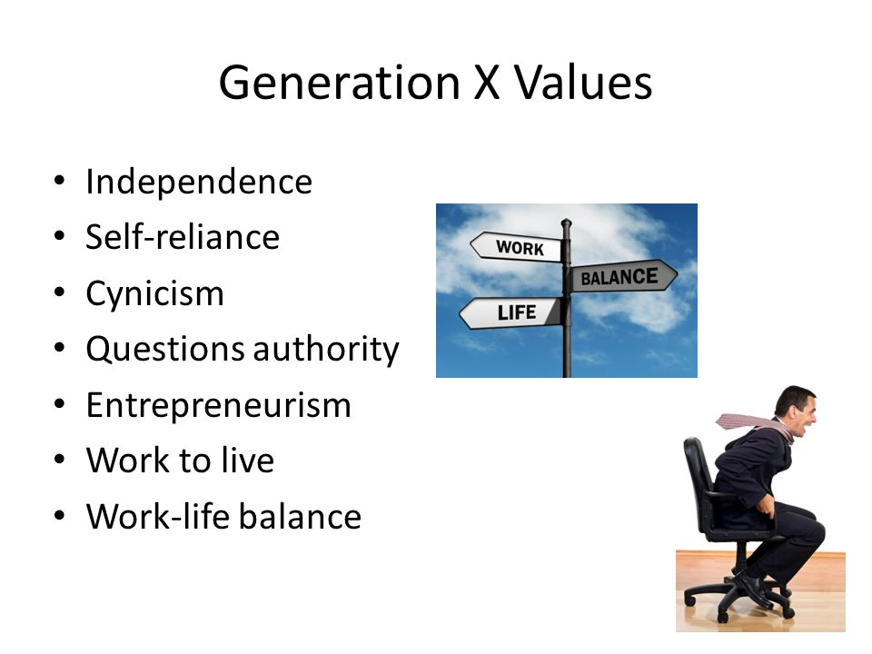 Independence Self-reliance Cynicism Questions authority Entrepreneurism Work to live Work-life balance Generation X Values