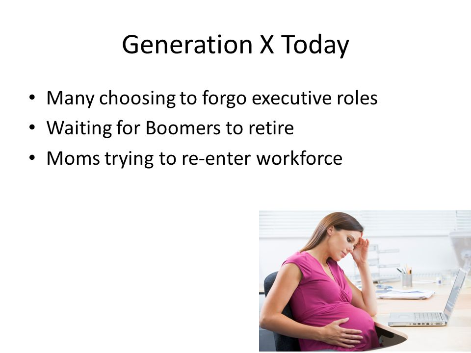 Generation X Today Many choosing to forgo executive roles Waiting for Boomers to retire Moms trying to re-enter workforce