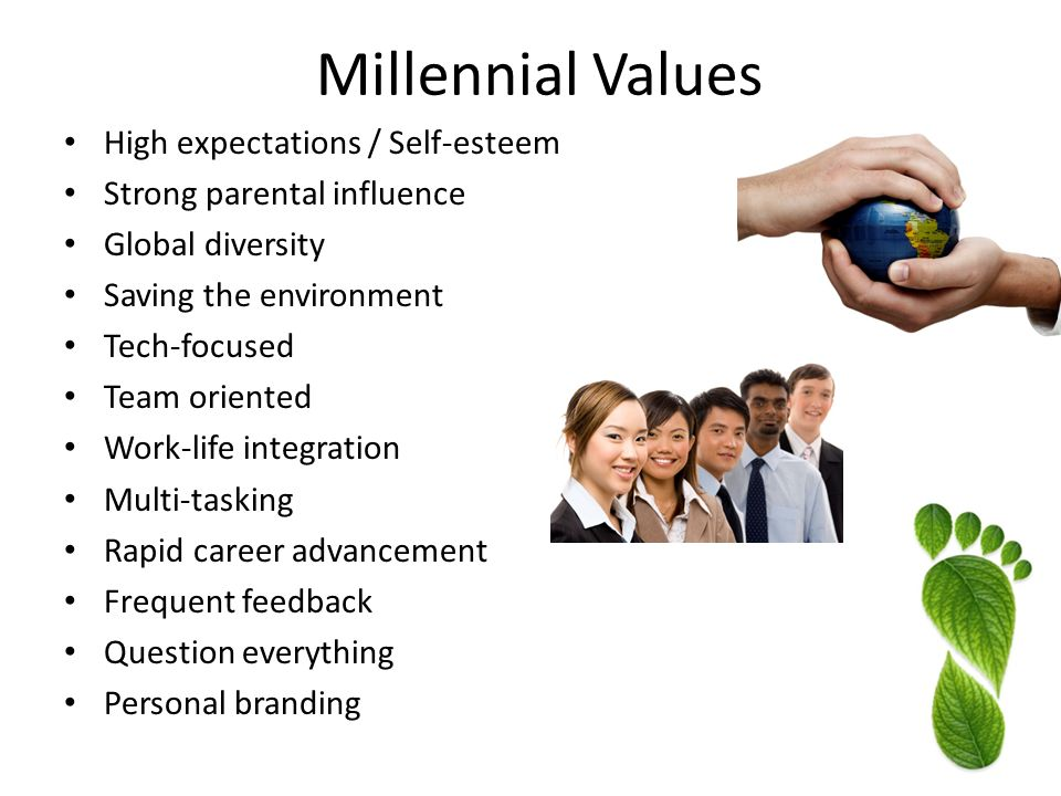 High expectations / Self-esteem Strong parental influence Global diversity Saving the environment Tech-focused Team oriented Work-life integration Multi-tasking Rapid career advancement Frequent feedback Question everything Personal branding Millennial Values