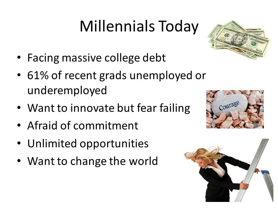 Millennials Today Facing massive college debt 61% of recent grads unemployed or underemployed Want to innovate but fear failing Afraid of commitment Unlimited opportunities Want to change the world