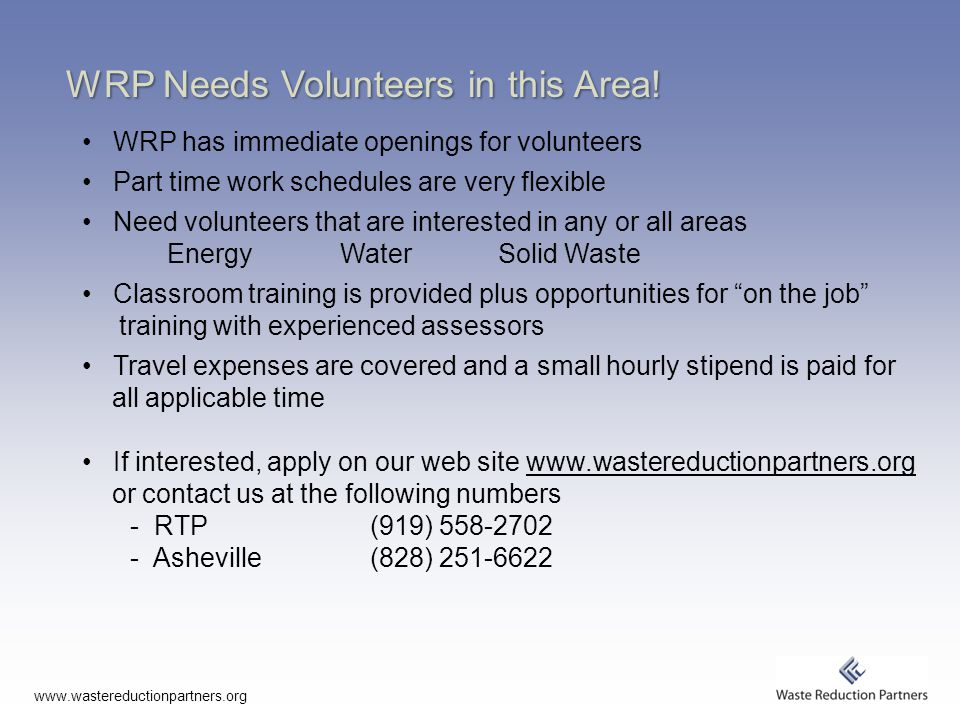 WRP Needs Volunteers in this Area.